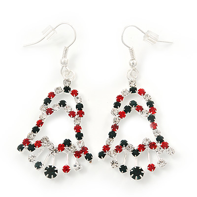 Red/Green/White Christmas Crystal Jingle Bell Drop Earrings In Silver Plating - 5.5cm Length - main view