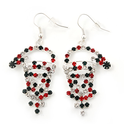 Green/Red/White Crystal 'Santa' Christmas Drop Earrings In Silver Plating - 6cm Drop - main view