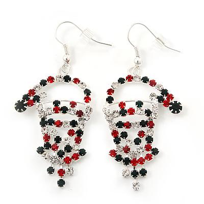 Green/Red/White Crystal 'Santa' Christmas Drop Earrings In Silver Plating - 6cm Drop