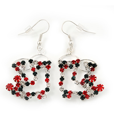 Funky Red/Green/Clear Diamante 'Christmas Stocking' Drop Earrings In Silver Plating - 4.5cm Length - main view