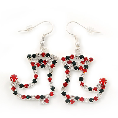 Red/Green/Clear Diamante 'Christmas Stocking' Drop Earrings In Silver Plating - 5cm Length - main view