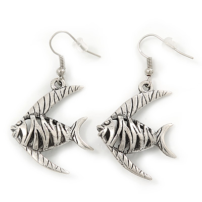 Burn Silver Hammered 'Fish' Drop Earrings - 4.5cm Length