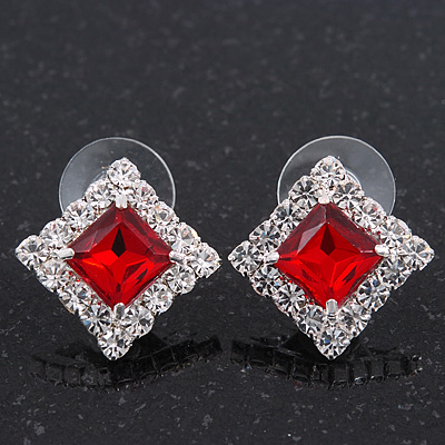 Red/Clear Crystal Square Stud Earrings In Silver Plating - 15mm Diameter - main view