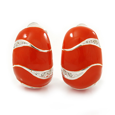 C-Shape Orange Enamel Diamante Clip-On Earrings In Rhodium Plating - 18mm Length - main view