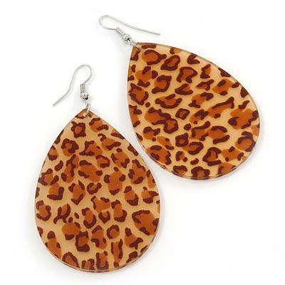 Large Resin 'Cheetah Print' Teardrop Earrings In Silver Plating - 7cm Length
