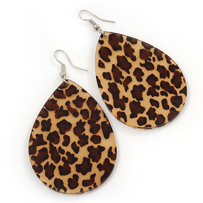 Large Resin Leopard Print Teardrop Earrings In Silver Plating 7cm Length Main