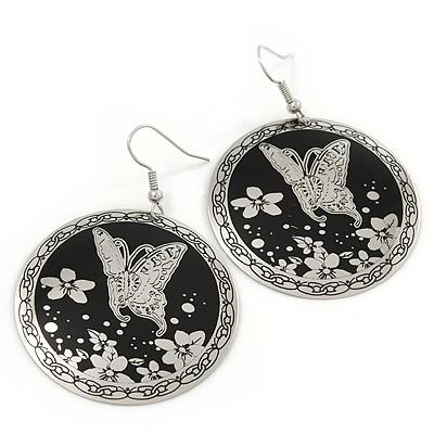 Silver/Black Round 'Butterfly' Drop Earrings - 6cm Length