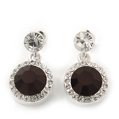 Round Black/Clear Crystal Stud Earring In Silver Metal - 2.5cm Drop
