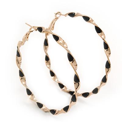 Twisted Gold Black Enamel Hoop Earrings - 6cm Diameter
