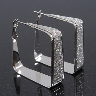 Silver Plated Textured Square Hoop Earrings - 4cm Length