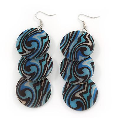 Long Black/Blue Stripy Acrylic Disk Drop Earrings In Silver Plating - 9cm Drop