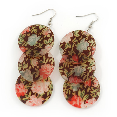 Long Floral Acrylic Disk Drop Earrings In Silver Plating - 9cm Drop