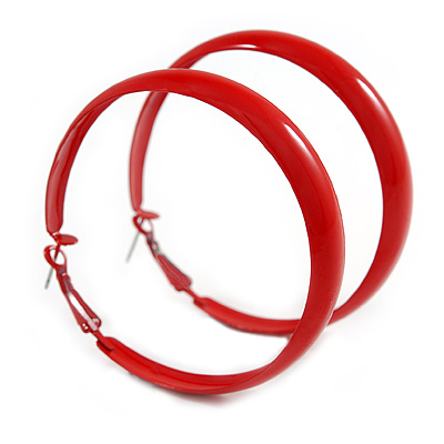 Large Red Enamel Hoop Earrings - 6cm Diameter