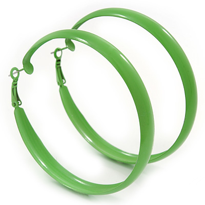 Large Salad Green Enamel Hoop Earrings - 6cm Diameter