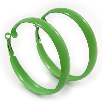 Large Salad Green Enamel Hoop Earrings - 55mm Diameter