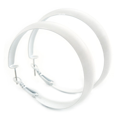 Medium White Enamel Hoop Earrings - 45mm Diameter