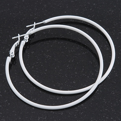 Slim White Enamel Hoop Earrings 6cm Diameter Avalaya