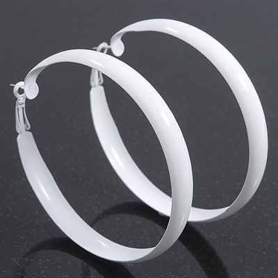 Large White Enamel Hoop Earrings - 60mm Diameter