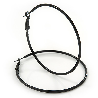 Slim Black Enamel Hoop Earrings - 6cm Diameter