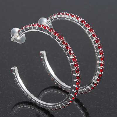 Large Burgundy Red Austrian Crystal Hoop Earrings In Rhodium Plating - 6cm Diameter