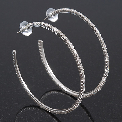 Large Clear Crystal Hoop Earrings In Rhodium Plating - 7.5cm Diameter