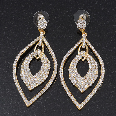 Exquisite Bridal Swarovski Clear Drop Earrings In Gold Plating - 7cm Length