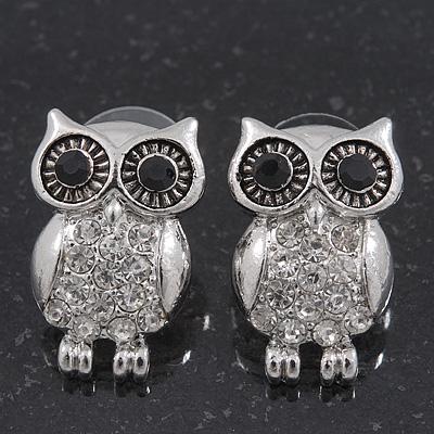 Funky Crystal 'Owl' Stud Earrings In Silver Plating - 22mm Length