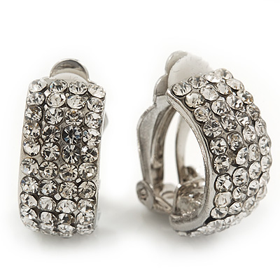 C-Shape Crystal Clip-on Earrings In Rhodium Plating - 2cm Length