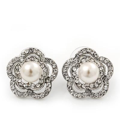 Classic Crystal Faux Pearl Flower Stud Earrings In Rhodium Plating - 2cm Diameter
