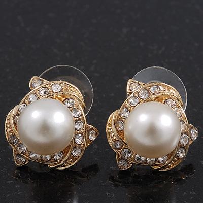 Classic Diamante Faux Pearl Stud Earrings In Gold Plating - 18mm Diameter - main view