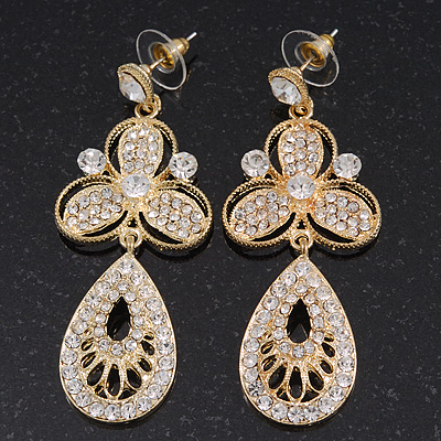 Stunning Crystal Filigree Drop Earring In Gold Plating - 6.5cm Length