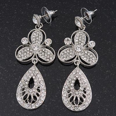 Stunning Crystal Filigree Drop Earring In Silver Plating - 6.5cm Length