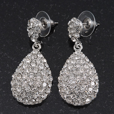 Bridal Clear Diamante Teardrop Earrings In Rhodium Plating 4cm Length Main View