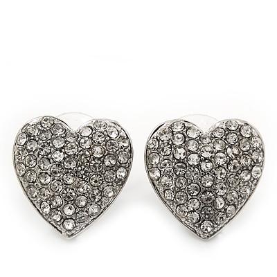 Classic Clear Diamante 'Heart' Stud Earrings In Rhodium Plating - 15mm Length