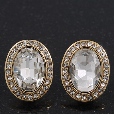 Small Oval Clear Glass Stud Earrings In Gold Plating - 2cm Length - main view