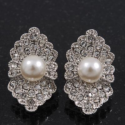 Exotic Diamante Faux Pearl Stud Earrings In Rhodium Plating - 2.5cm Length