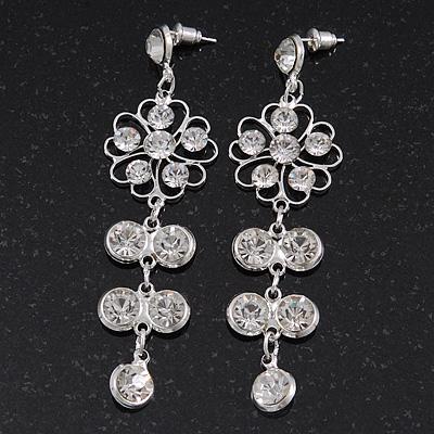 Clear Crystal Silvertone Flower Drop Earrings - 7.5cm Length