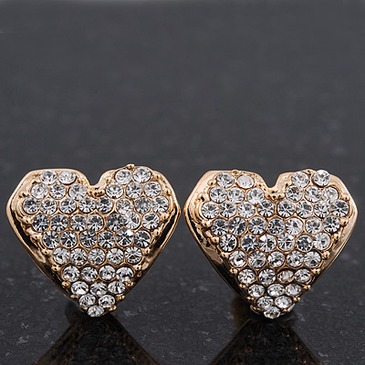 Gold Plated Crystal 'Te Amo' Heart Stud Earrings - 1.5cm
