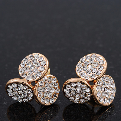 Gold Plated Crystal 'Trinity Circles' Stud Earrings - 1.5cm - main view