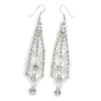 Silver Plated Diamante Chandelier Earrings - 9cm Length