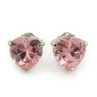 Classic Pink CZ 'Heart' Stud Earrings In Rhodium Plating - 11mm Diameter