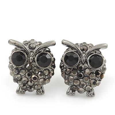 Small Dark Grey Diamante 'Owl' Stud Earrings In Black Tone Metal - 15mm Length