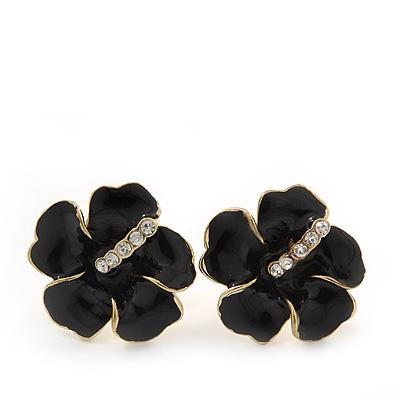 Black Enamel Diamante 'Daisy' Stud Earrings In Gold Plating - 2cm Diameter