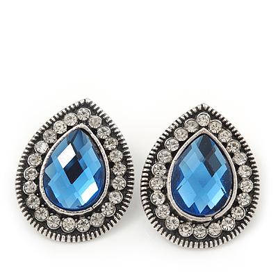 Burn Silver Sky Blue Jewelled Teardrop Stud Earrings - 3cm Length
