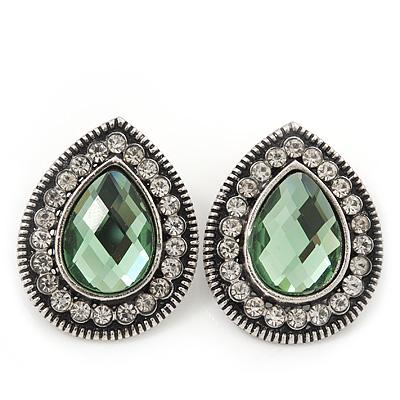 Burn Silver Light Green Jewelled Teardrop Stud Earrings - 3cm Length