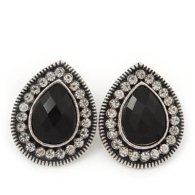 Burn Silver Black Jewelled Teardrop Stud Earrings - 3cm Length