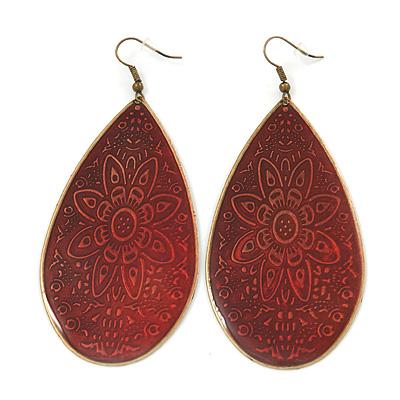 Long Dark Red Enamel Teardrop Earrings In Bronze Metal - 9.5cm Length