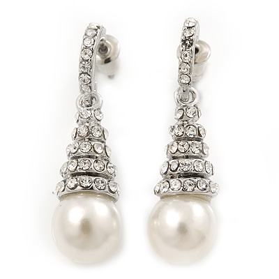 Bridal Clear Crystal Faux Pearl Drop Earrings In Silver Plating - 3.5cm Length - main view