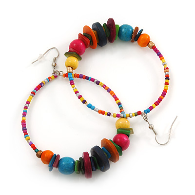 Large Multicoloured Glass & Wood Bead Hoop Earrings In Silver Plating - 8cm Length
