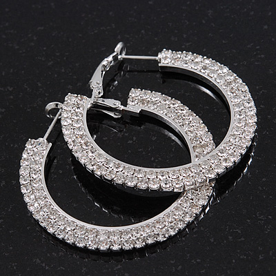 2-Row Crystal Flat Hoop Earrings In Rhodium Plating - 4.5cm in Diameter